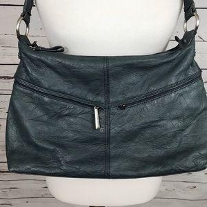 Stone Mountain Leather Blue Shoulder Bag